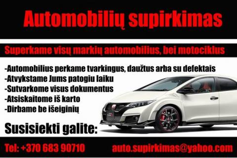 Vilniuje Automobiliu supirkimas
